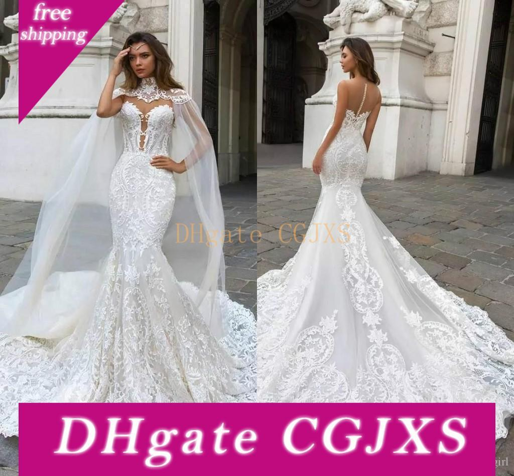 2019 lindo sereia Vestidos de casamento com Cabo Sheer Mergulhando Neck Bohemian vestido de casamento Appliqued Plus Size Ba9313