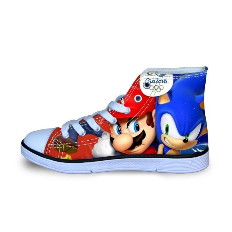 Children 's Kids Shoes Sneakers Mario Sonic The Hedgehog Casual Shoes High Top Sport for Children Boys Girls Kids Cotton Fabric