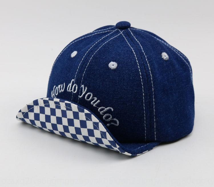 sombrero de Corea lindo bebé denim flip-borde de béisbol de béisbol del casquillo del bebé del amor de los niños del casquillo del todo-fósforo del resorte del sombrero nuevo E020 SrOEd