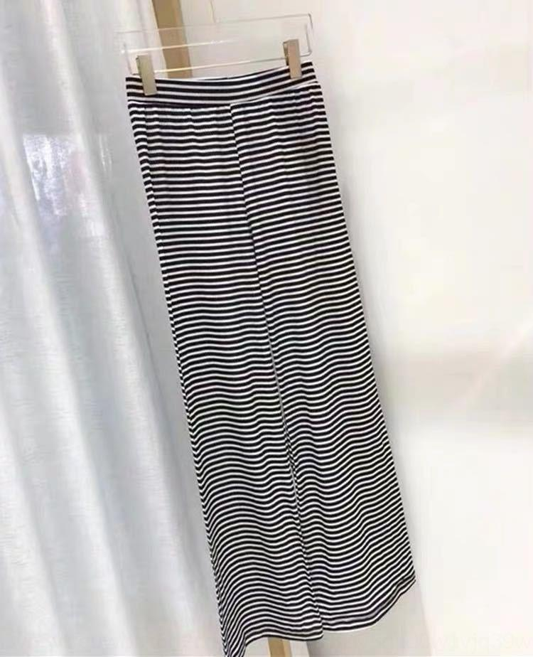 seta del ghiaccio q82B1 eRpjT Suit T-strisce casuali degli alti della vita pantaloni a gamba larga vestito delle donne mop Mop lunga estate allentata