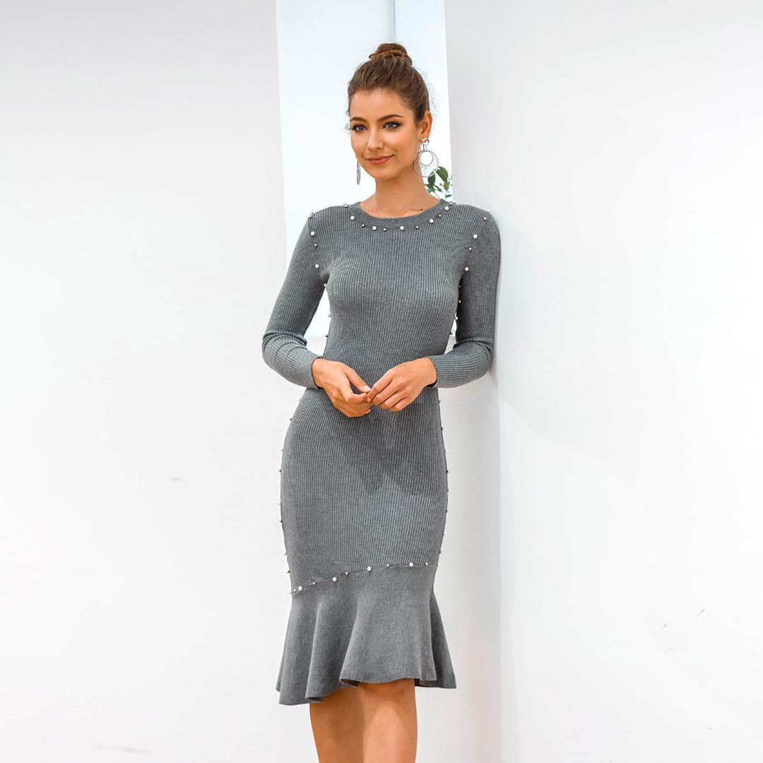 Сборки вязание платье Мода Повседневная одежда для женщин Для женщин конструктора Bodycon платья с длинным рукавом сплошной цвет Pearl