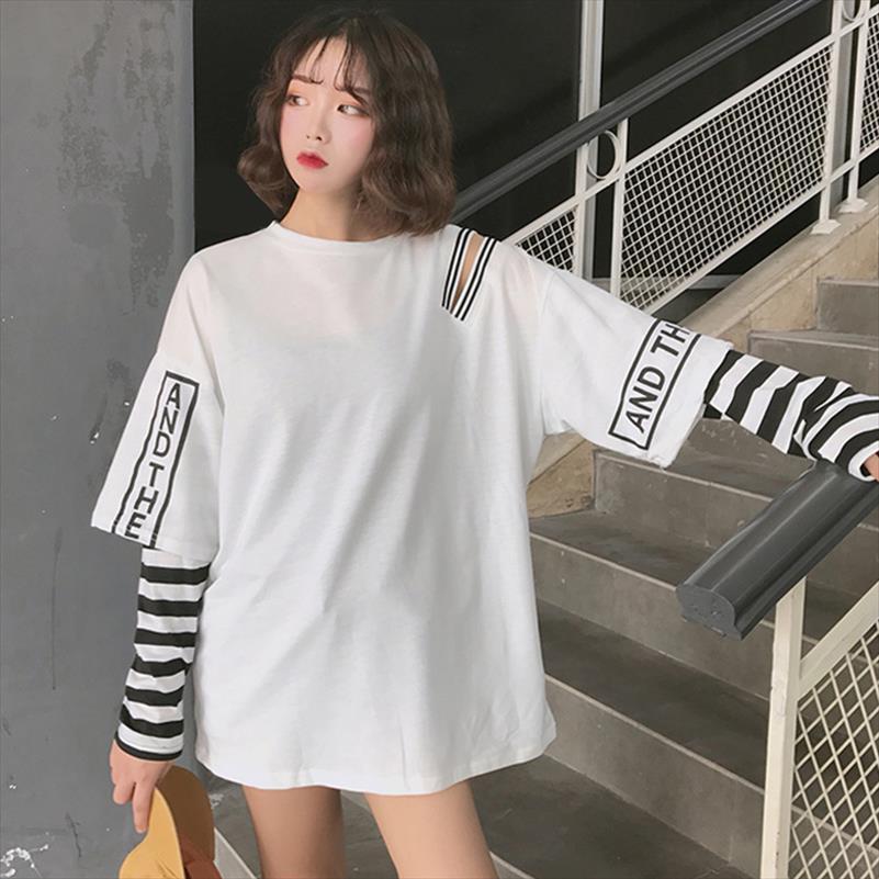 Striped Patchwork-Frauen Sweatshirt Hoodies Langarm-Hip Pop Cold Shoulder Frauen Hoody 2020 Herbst Punk Frau Pullover