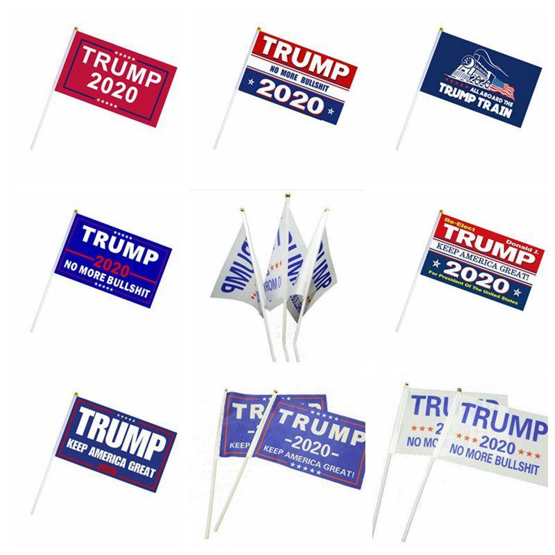 Ev dekorasyonu için Amerika Büyük tutmak Küçük Bayrak Başkanı seçim Hand Held koz Çubuk afiş 2020 Donald Trump bayrakları