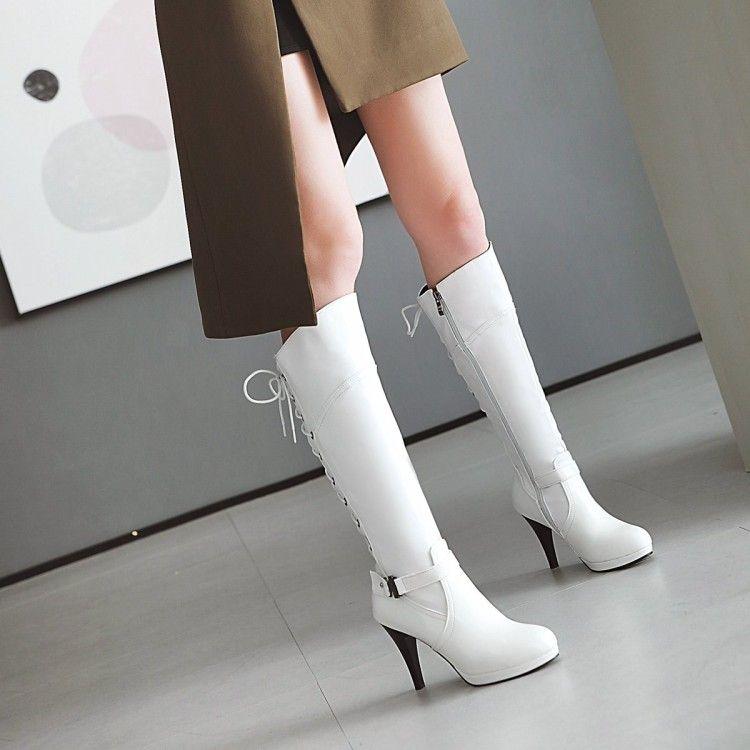 Big Size Oberschenkel hohe Stiefel kniehohe Stiefel über das Knie Frauen Damen Side Reißverschluss hinten Kreuzgurt