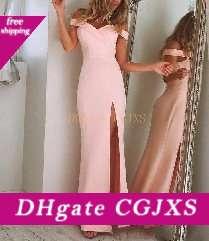 2019 Charming della spalla elegante semplice Prom Dresses rosa lungo spettacolo degli abiti di alta -Thigh Split Design unico da sera convenzionale di usura su misura