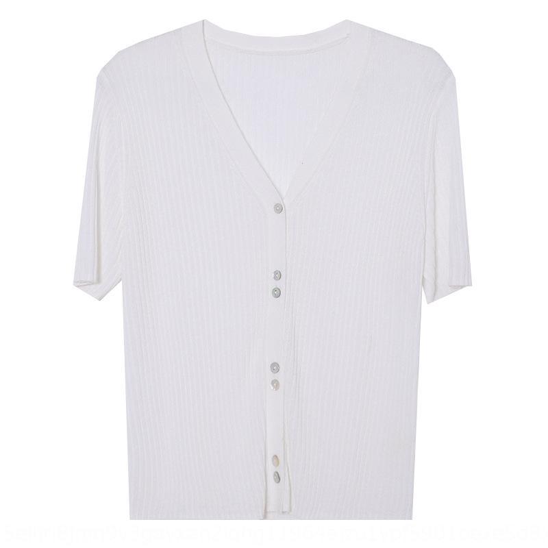 IFkPS TG V-neck das mulheres finas malhas de verão New Age-reduzindo Candy Candy cor malhas 2020 camisa cardigan fino 11610
