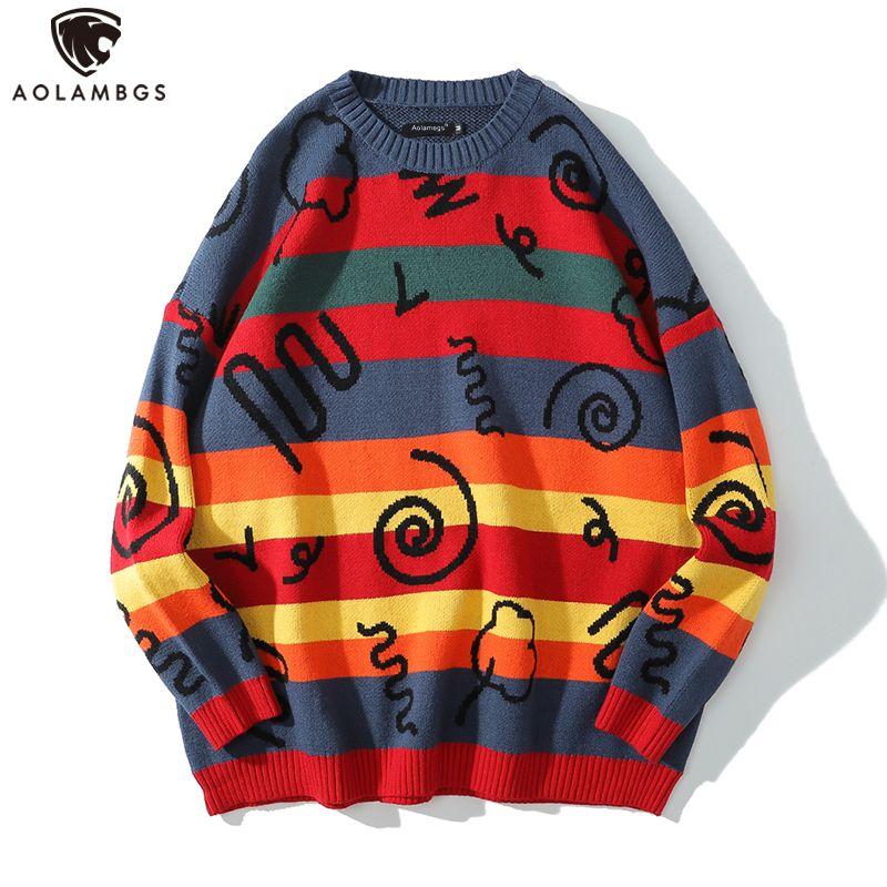 Süveter erkekler Renkli Çizgili Baskılı O-boyun Erkek kazak Baghee Harajuku Moda Örme Kazak Sonbahar erkek giyim