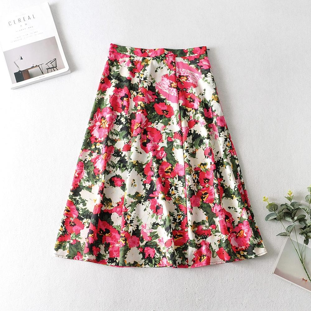 TACT2 LB7X3 корейский стиль женской одежды 2020 лета новый средней длины юбки высокой талии большой большой цветок напечатанный большой качели юбки для женщин Z183