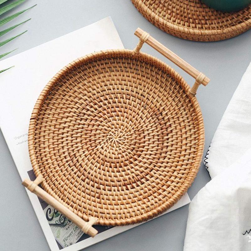 Rattan-Speicher-Tray runder Korb mit Griff Hand-Woven Rattan Tablett Wicker Korb Brot Obst Essen Frühstück Anzeige L