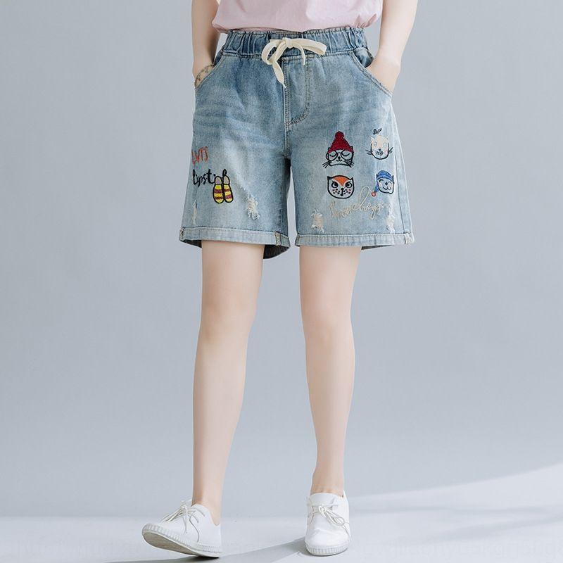3bysK zayıflama Yaz yeni ve gevşek gündelik kot kadın OLQ2Q düz pantolon ve yeni İşlemeli Yaz şort gevşek gündelik Deni işlemeli