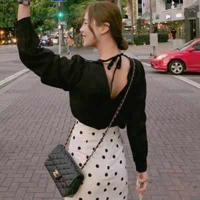 XnBIw otoño camisa de manga larga minoría francesa de las mujeres luz dulce estilo Hepburn maduro minoría atractiva sin espalda de la mujer traje de estilo étnico Gr