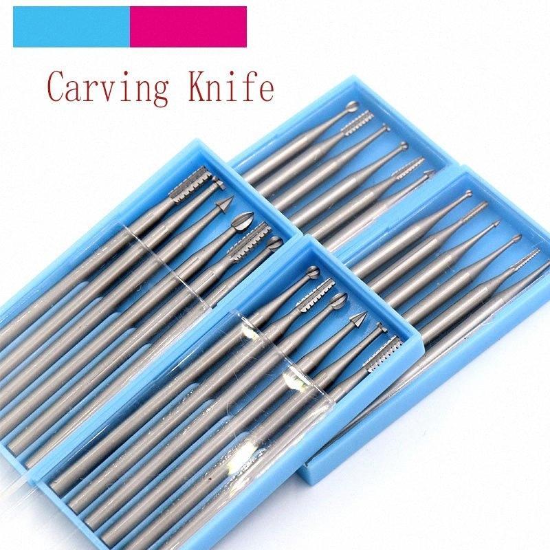 6 piezas de acero de tungsteno grabado cuchillo molino de extremo de la carpintería Router mecha de madera Fresa para las tallas / Kernel oliva / de Lvory fruta TKse #