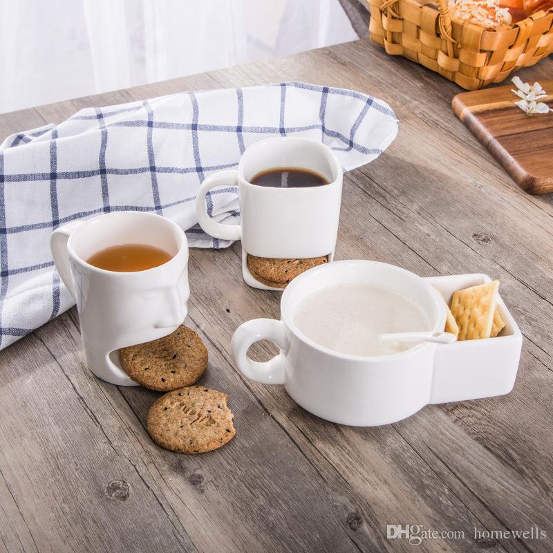 2017 Cerámica taza Galletas leche de postre Copas taza de té de almacenamiento inferior tazas para galletas de la galleta Bolsillos sostenedor del hogar de uso de la oficina