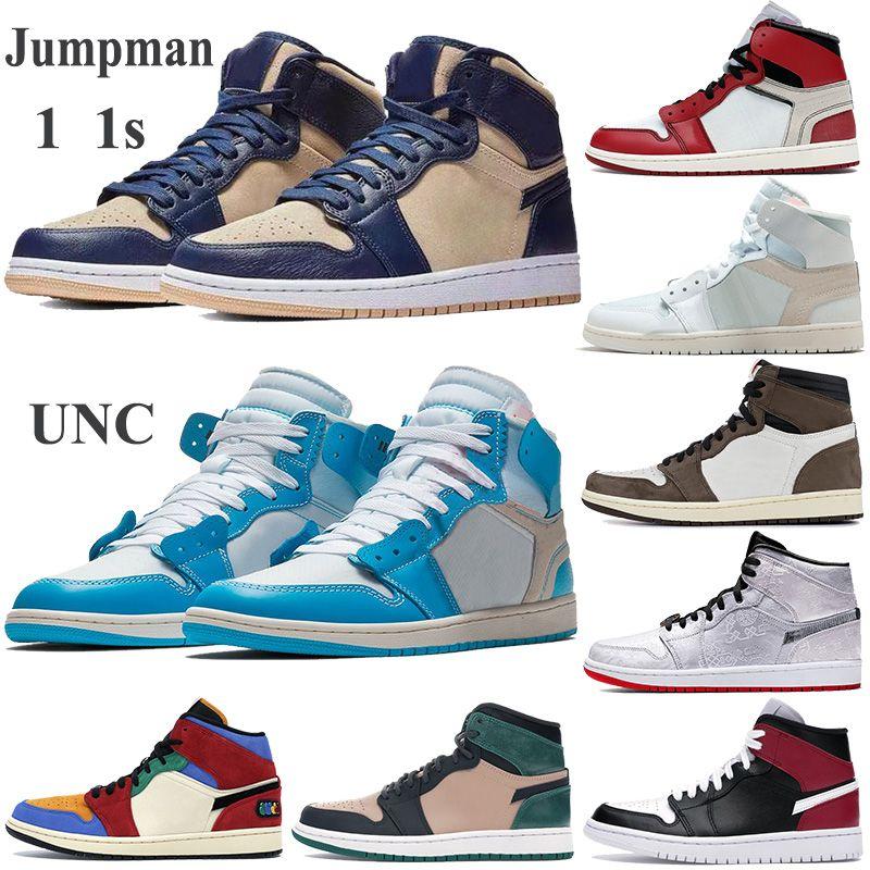 Con Zapatos Caja Jumpman 1 1s blanco Hombres Mujeres azul baloncesto Chicago atléticos zapatillas de deporte negras Travis Scotts Formadores rojos nobles polvo UNC