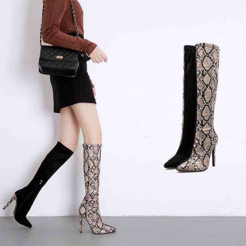 2020 무릎 높은 나이트 부츠 혼합 색상 얇은 발 뒤꿈치 부츠 패션 품질 가죽 여성 뱀 곡물