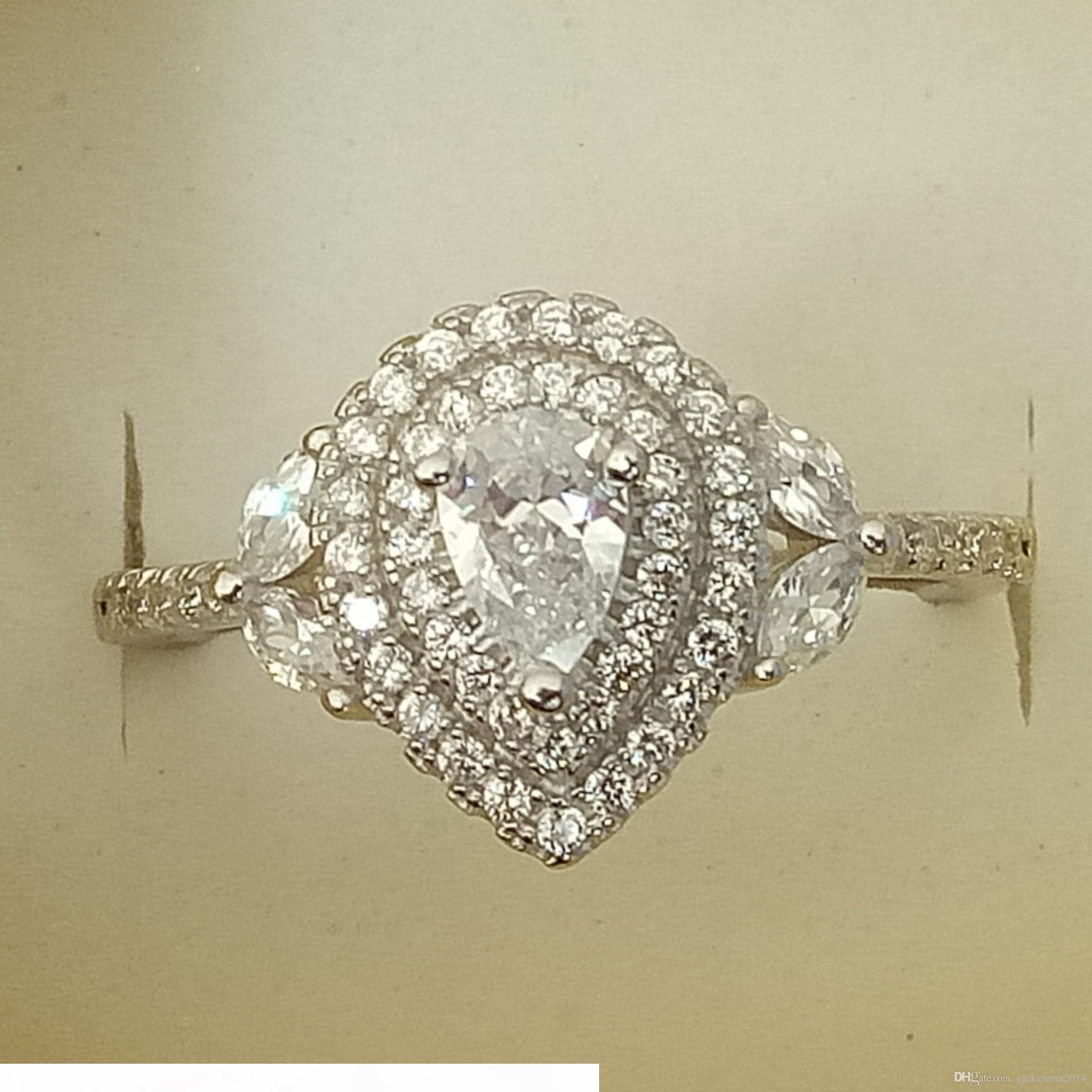 K Victoria Wieck Luxuxschmucksachen Reines 100% 925 Sterlingsilber verblassen nie Tropfen Wasser Weiß Topaz Cz Diamant-Hochzeit-Band-Ring für Frauen