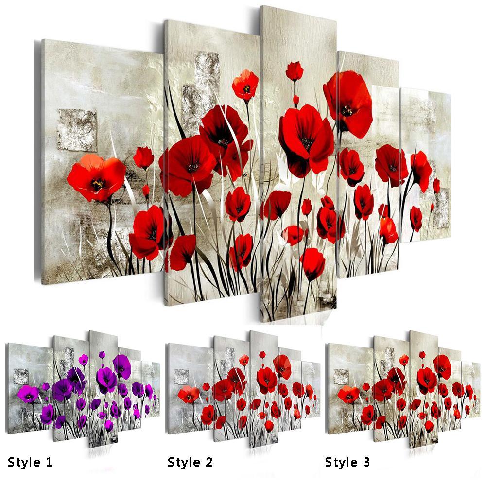 5PCS / Set Rot Pruple Mohnblumen-Blume Kunstdruck Frameless Leinwand-Wand-Bild Home Decoration Gemälde, wählt Farbe und Größe No Frame Y200102