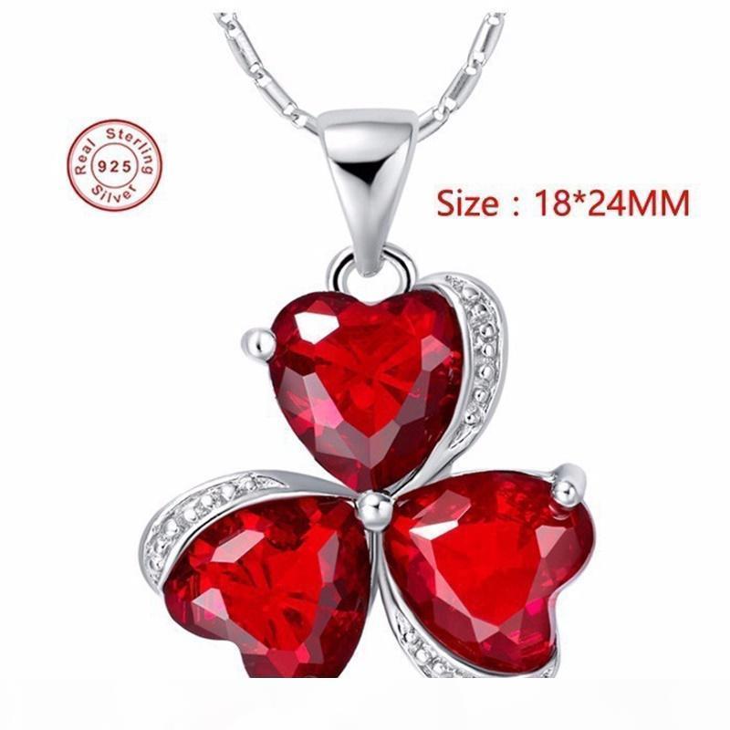 Anillo de diamantes de lujo F 100% 925 joyería de plata esterlina collar nuevo de la manera del corazón rojo de cristal Trébol collar colgante para las mujeres N880