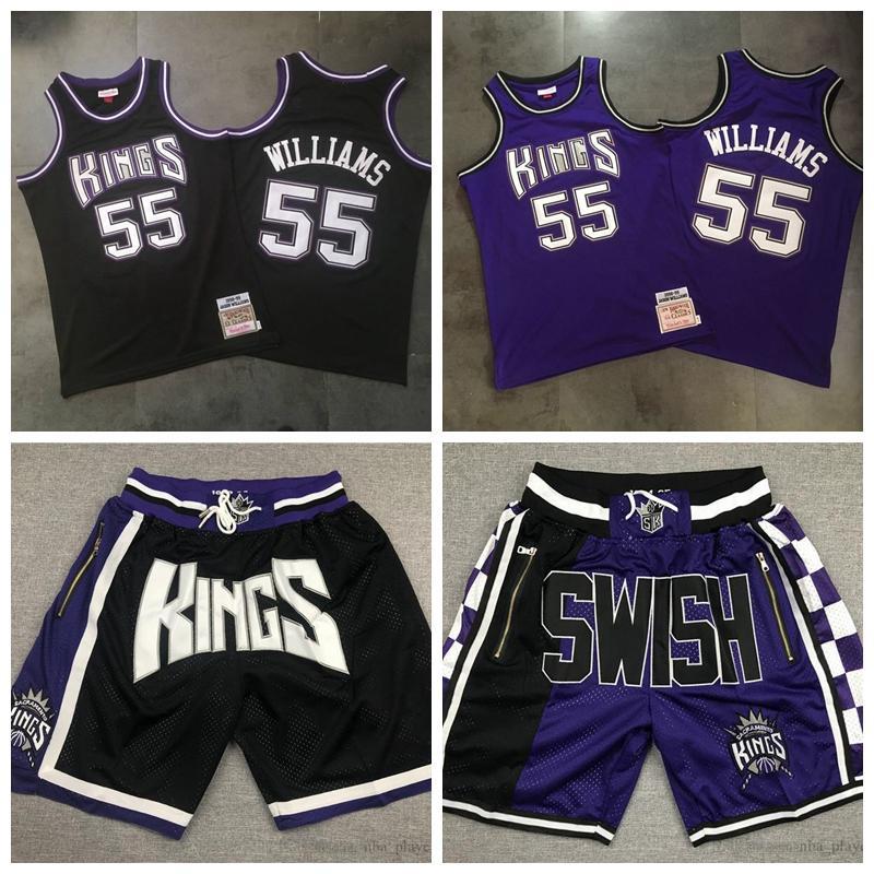 Männer SacramentoKing55 JasonWilliams Mitchell Ness Schwarz pueple 1998-1999 Hard Classics Swingman Jersey
