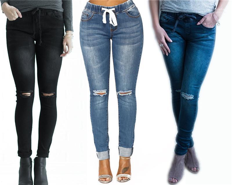 Slim Fit Moda Pantolon Bahar Yeni Stil Kalem Pantolon Bayan Delik Stretch Jeans Kadın Kadın Ripped