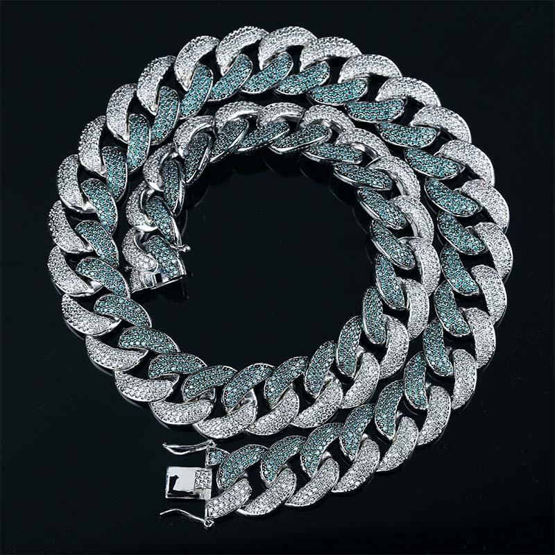 الجاديت اللون 18 ملليمتر الرجال ميمي الكوبي ربط سلسلة قلادة مثلج خارج الزركون الهيب هوب المجوهرات