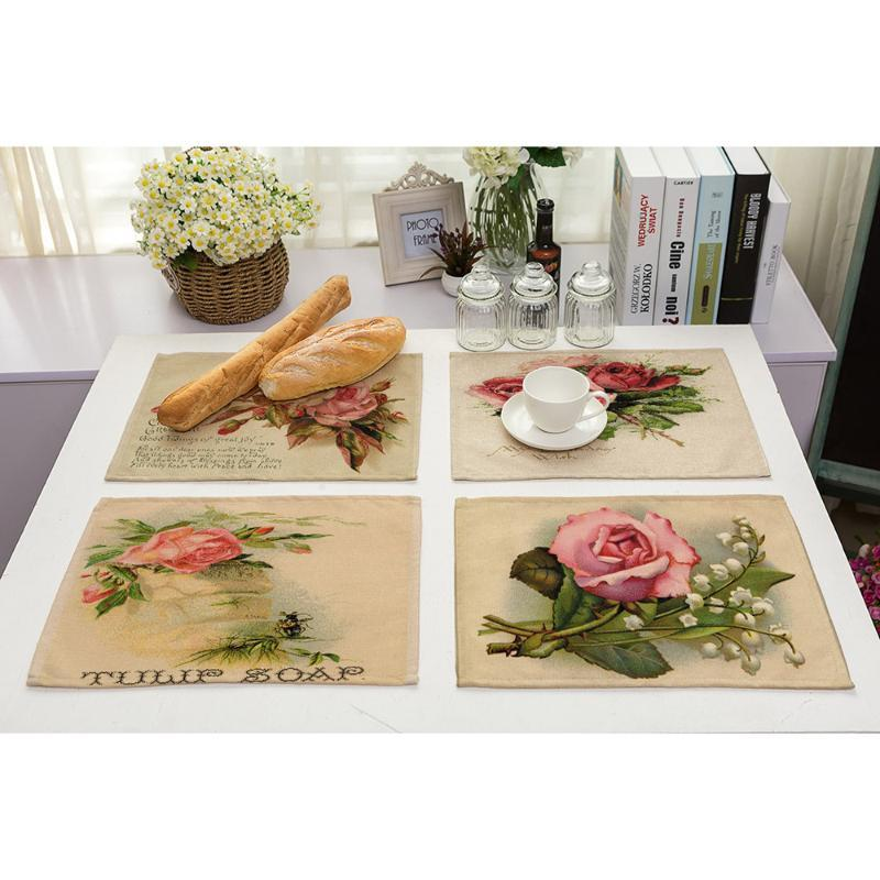 Lychee 42*32cm Retro Flower Series Placemat Table Mat Anti-scalding Pad DIY Kitchen Decoration Dining Accessories