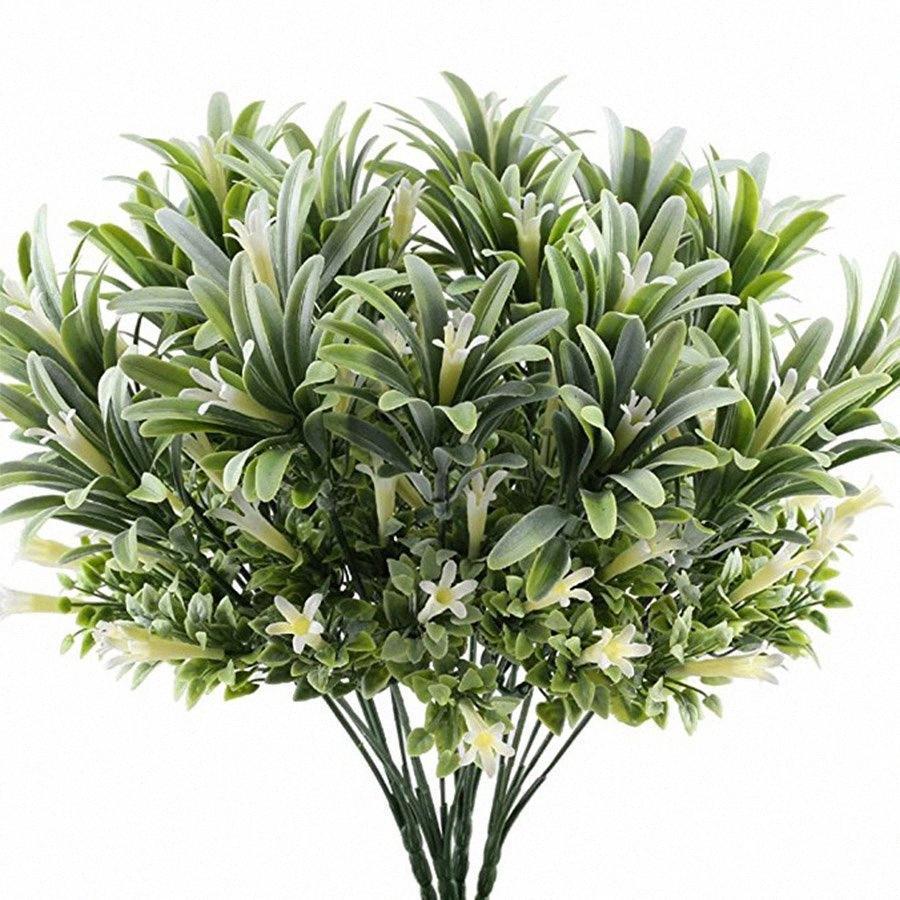 Artificial plástico flores del lirio plantas falsas hojas jardín Arbustos Hierba verde arbustos de imitación de la gloria de mañana al aire libre casero decoración JBiX #