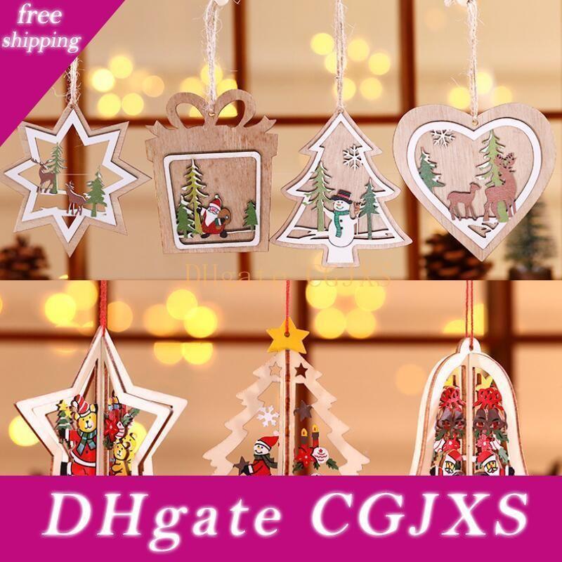 Albero di Natale del modello legno cavo del fiocco di neve Snowman campana appesa decorazioni colorate casa Christmas Festival Ornamenti Hanging Lx8593