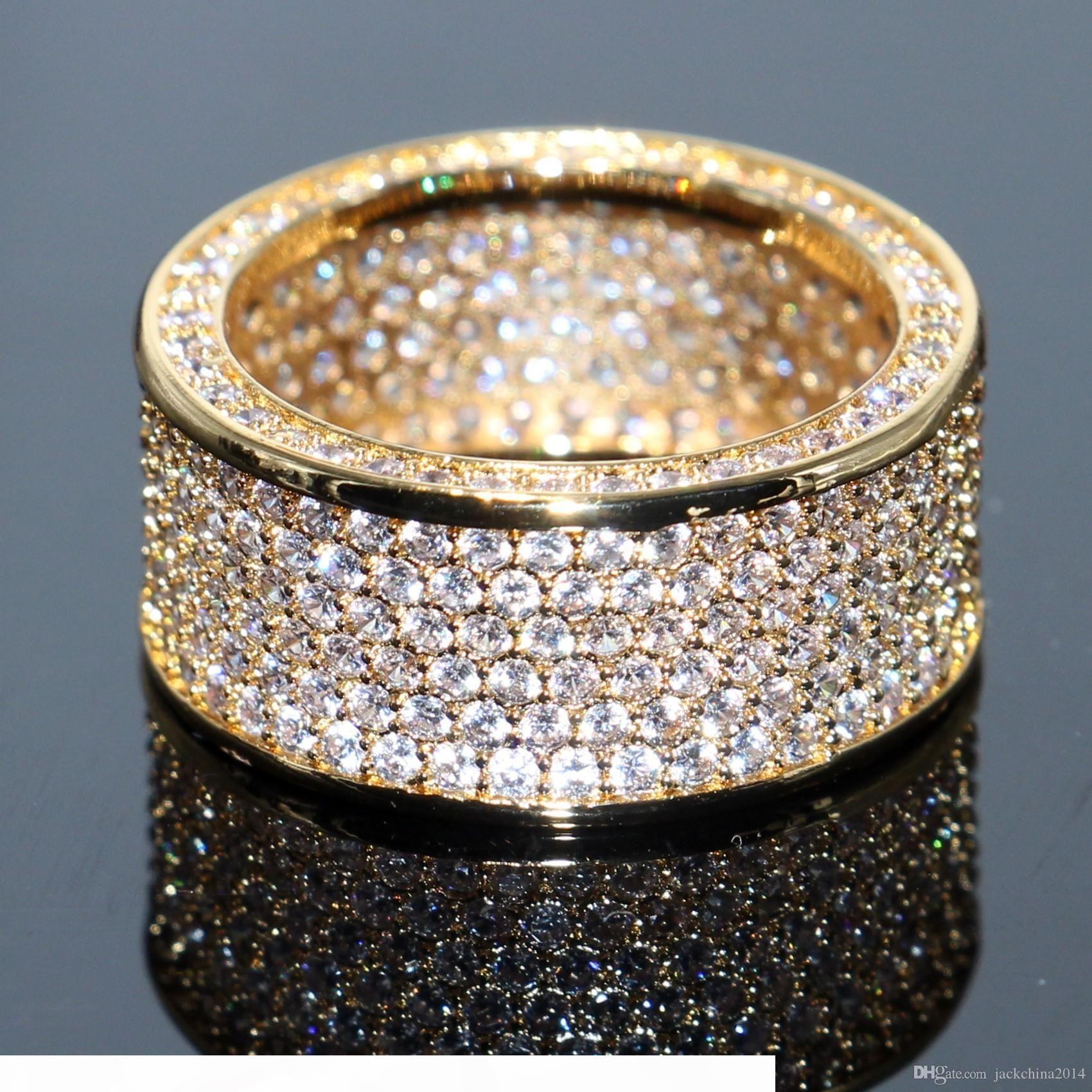 Atemberaubende Marke Desgin Qualitäts Luxuxschmucksachen 925 SilverYellow Gold füllte Pave Enternity Topaz CZ-Diamant-Kreis-Band-Ring