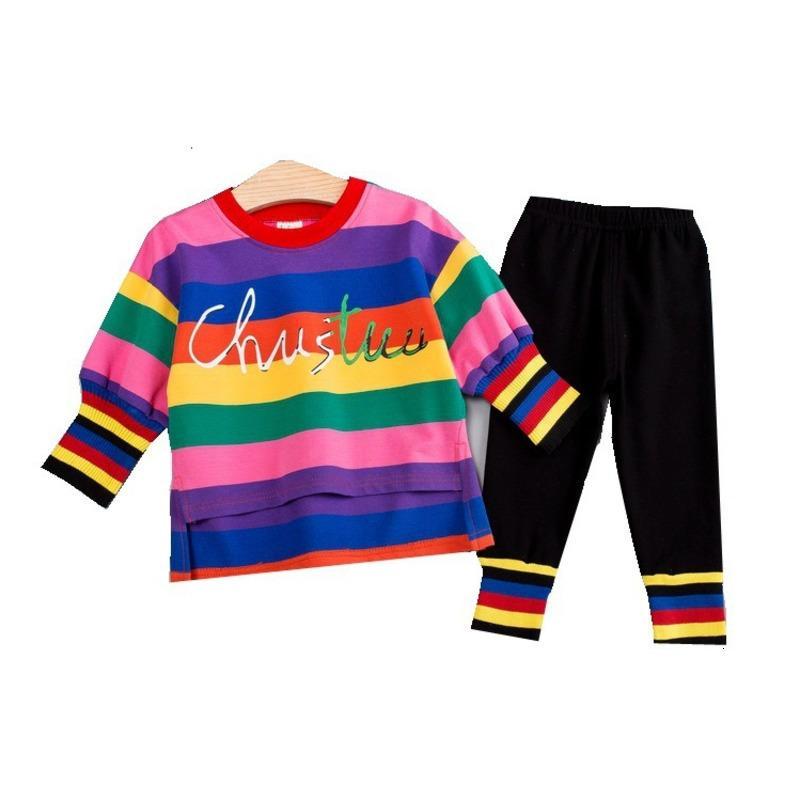 Cotone dei vestiti della molla bambino di autunno dei bambini stabiliti della ragazza dei ragazzi maglietta della banda pantaloni 2pcs / set di moda bambino vestiti infantili Tuta