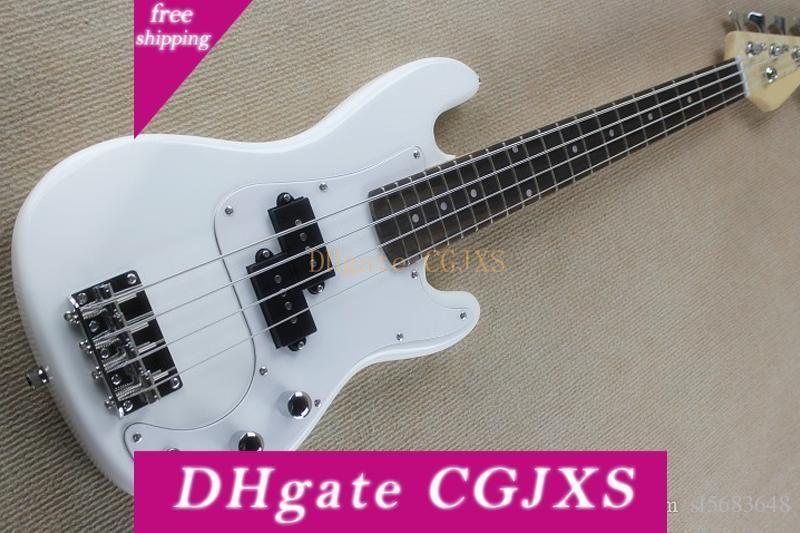 Livraison gratuite! En gros personnalisé Noir / Blanc 4 cordes Enfants Guitare basse électrique avec blanc pickguard, Touche palissandre 180903