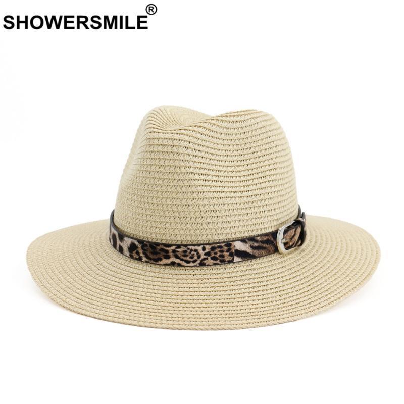 SHOWERSMILE Женщины Sun Шляпы Солома Пляж летние шапки с Leopard пояса Мода Floppy Бежевый Соломенная шляпка Женский Ladies Джаз