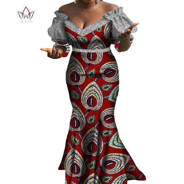 Африканские платья для женщин Базен Riche Стиля Femme африканских одежд Изящных леди печати Wax Плюс Размер партии Mermaid Dress WY8103