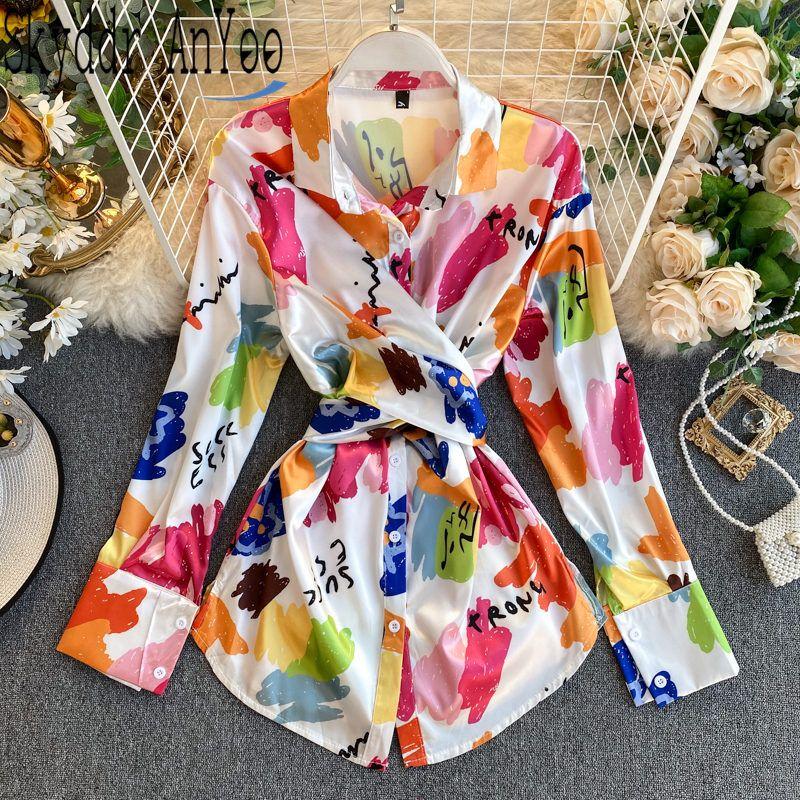 2020 Весна Мода Блузка Женщины Отверните Воротник Рубашка Элегантные Женские Топы и Блузки Длинные Туники Дамы Топы Bluss