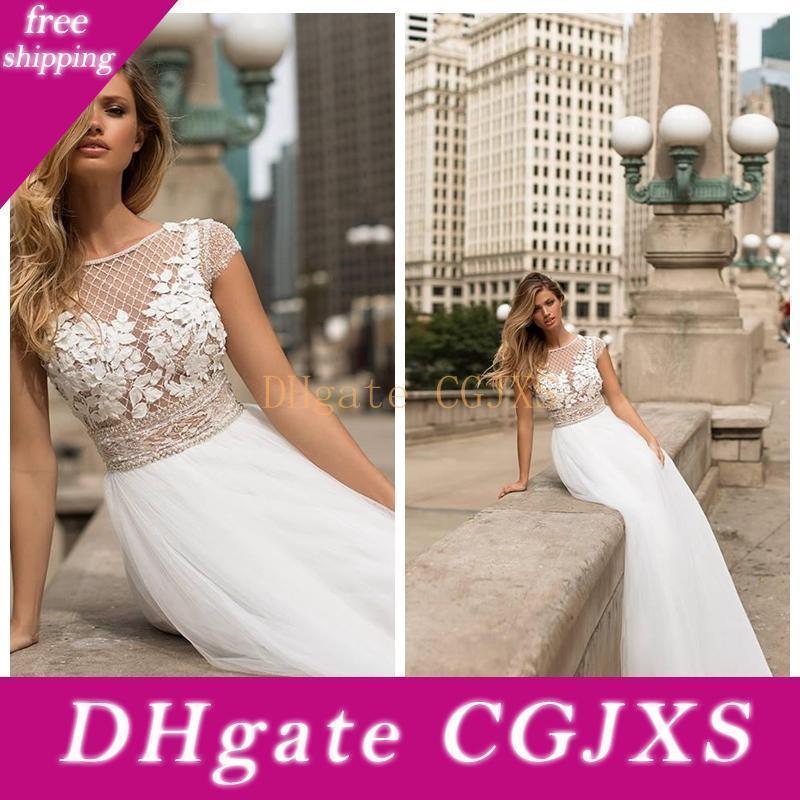 2020 Vestidos de manga corta Una lÍnea de encaje apliques Top con cuentas vestidos de boda suave tul de novia Vestidos de mariée personalizada