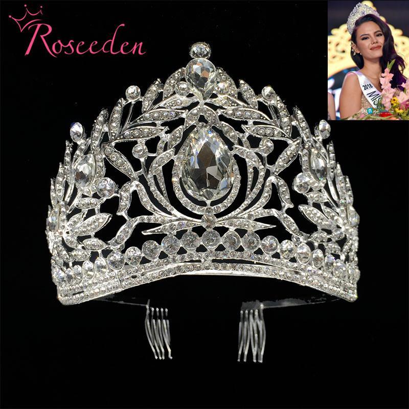 Miss Universo Filipinas Crown Tiara Classic Prata Cor Rhinestone Casamento Bridal Tiara Frete Grátis R998 Y200807