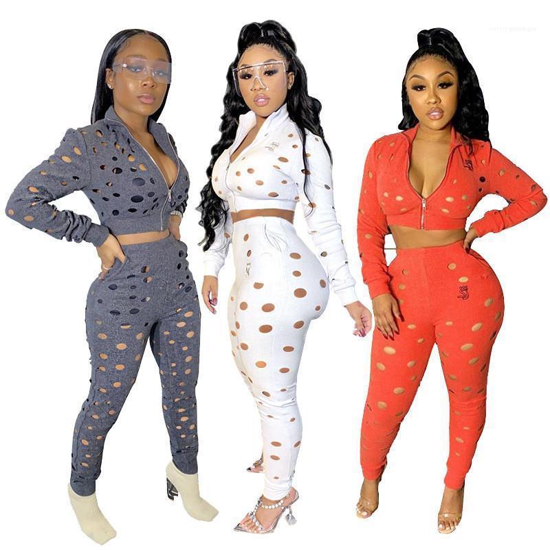 Pantolon Katı Renk Uzun Kollu Günlük Moda Kadın eşofman Hollow İşlemleri Dizayn eşofman Kadınlar Spor Fermuar 2 Adet