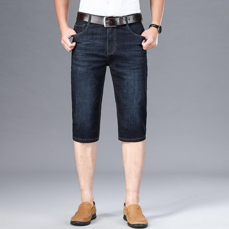 pantalones cortos de mezclilla de los hombres rectos pantalones sueltos medianas ocasional del verano delgada y pantalones vaqueros de los hombres de los pantalones vaqueros 7 recortadas se extienden de cintura alta pantalones casuales 6wZJO 6wZJ