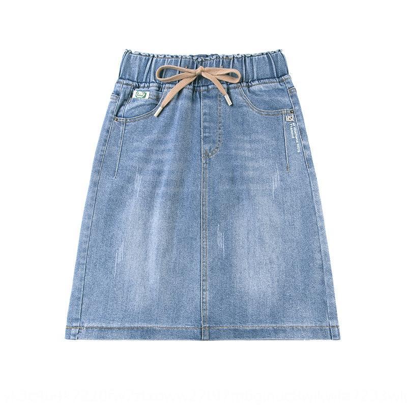22jeQ alto dril de algodón de la cintura del verano nueva línea apretada de los niños A- LÍNEA Vestido ajustado mitad de la longitud de la falda A- vestido ajustado de adelgazamiento suelta xeuh8 2020 casua