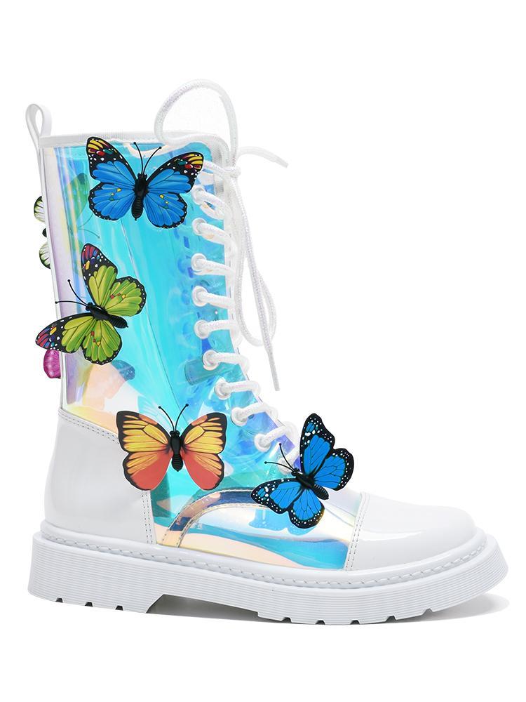 Mulheres Transparente Couro PVC Magic Color borboleta botas brancas Flats Botas Cavaleiro Sapatinho botines calçados casuais