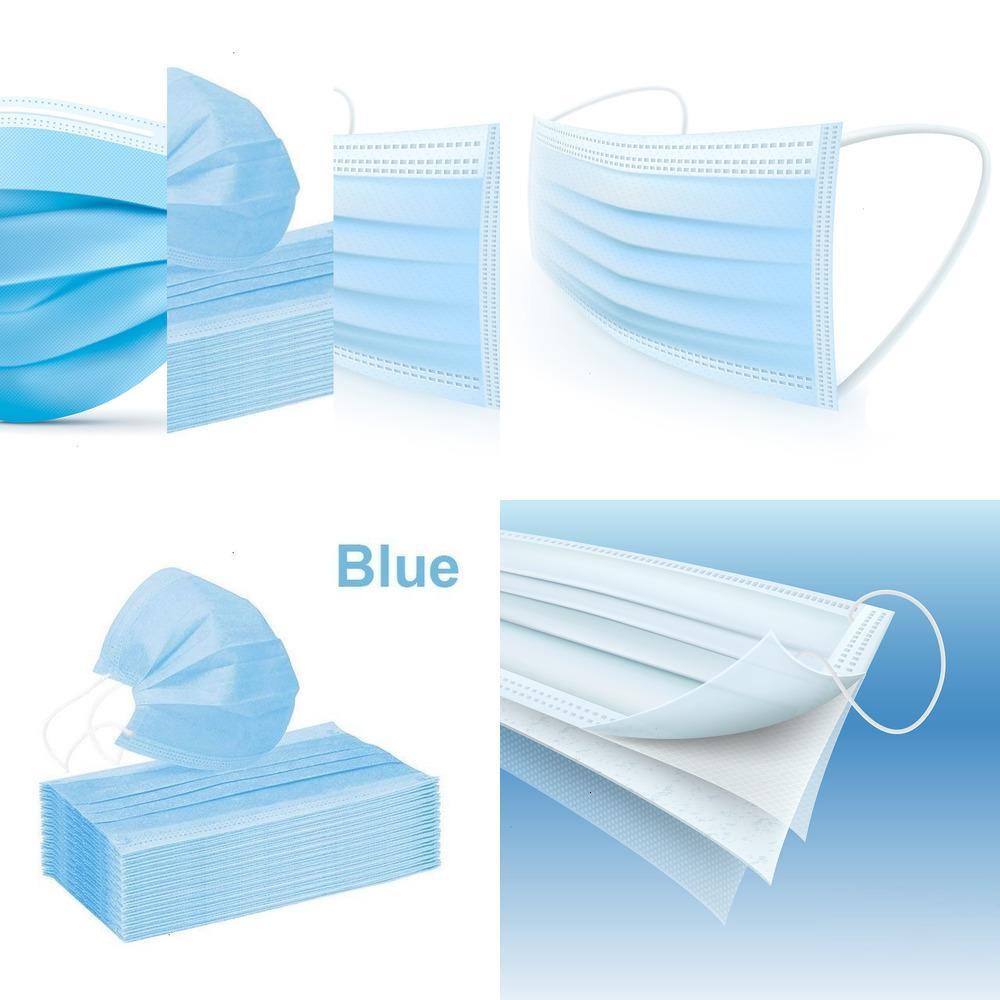 1-100pcs Einweg-blaues Gesicht 3-Schicht-Non-woven mit schmelzgeblasenen Stoffe Masken für Männer und Frauen-50pcs / box Maske