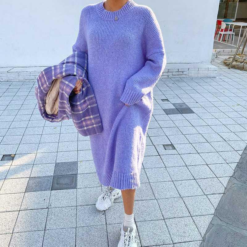 Robe pull en vrac occasionnels d'hiver Femmes Mode Tricot Robes longues overs coréenne style Lady Réchauffez Robe longue Oversize