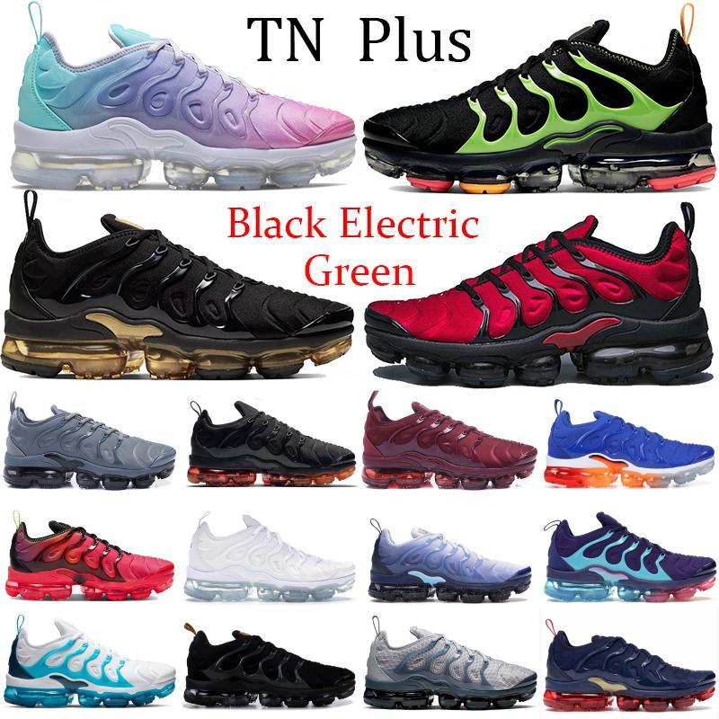 2019 Bumblebee TN Plus Homens Tênis de corrida Triplo Preto Branco Pôr Do Sol Foto Azul Mulheres Sapatos de Grife Sapatilhas Esporte Tênis 36-45