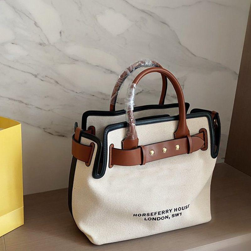 Canvas Sac de grande capacité Paquet Sacs fourre-tout sac à main Lettre mode haute qualité Blanc Véritable Livraison gratuite en cuir