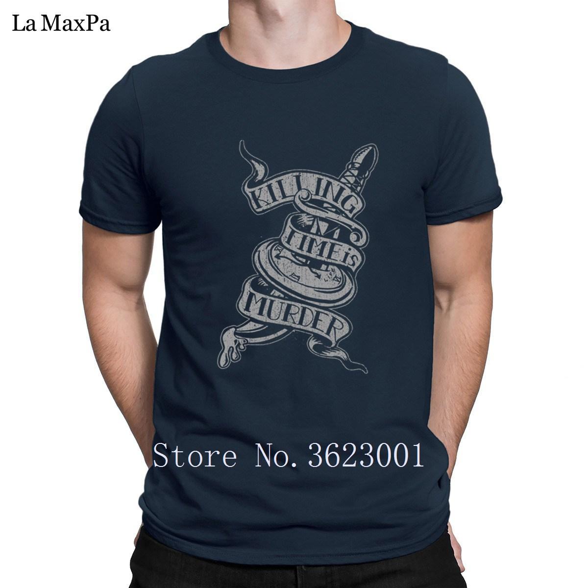 Impreso cómico de la camiseta para los hombres Killing Time es asesinato camiseta para hombre de Kawaii Camiseta hilarante de los hombres de más del tamaño de la venta caliente