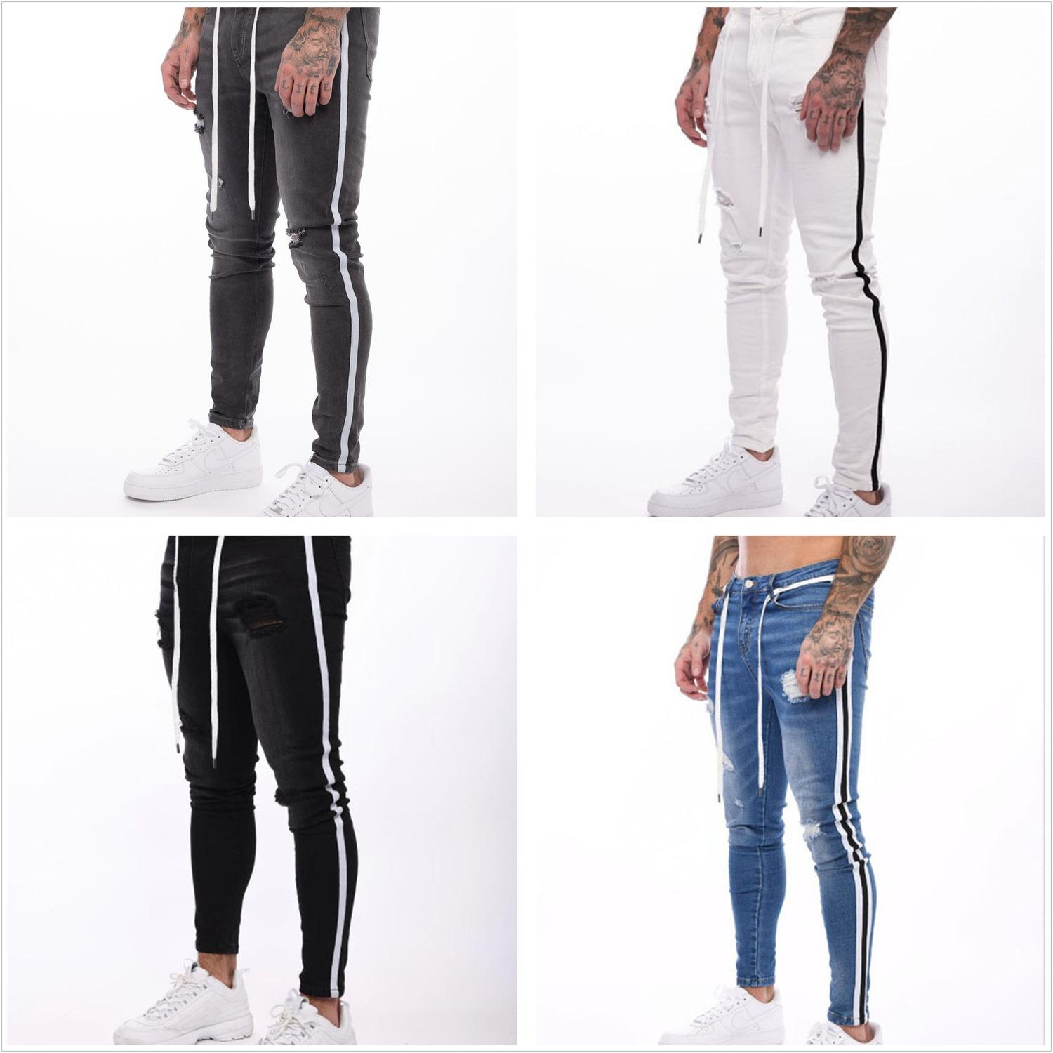 Men's Skinny Stretch Ripped Jeans HipHop Distred Skinny Slim Fit Jean Pants Damaged Pants Street ropa de hombre jeans