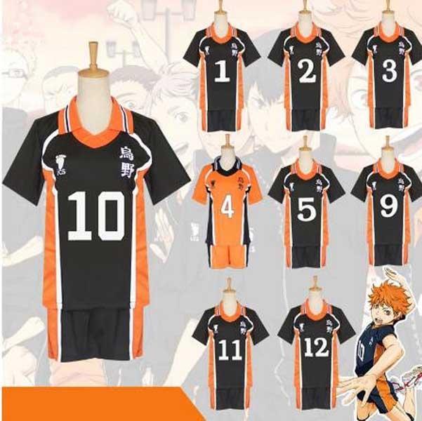 Sıcak Anime Karasuno Lisesi Sportwear Haikyuu !! Hinata Shyouy Cosplay Kostümler Kıyafet Formalar Üniforma