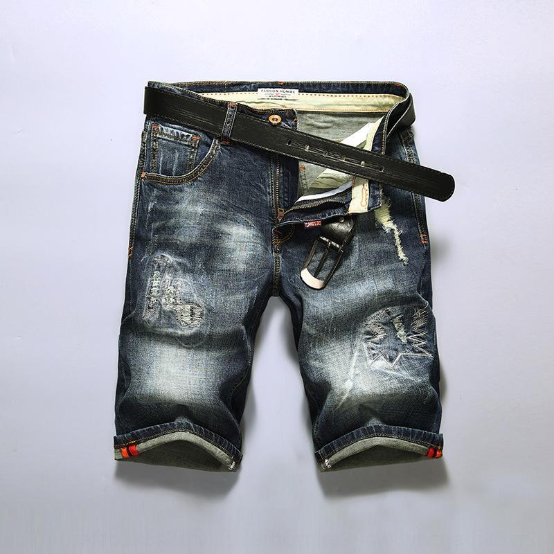 cinque punti di shorts e pantaloncini giovanili pantaloni del foro degli uomini nuovo denim di estate slacciano grande cinque punti pantaloni moda jJqbA