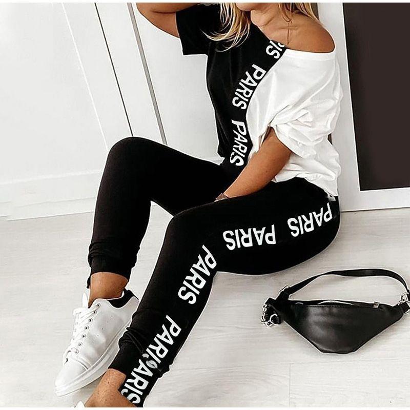 1MEeY 2020 Летних новый и белый черный цвет износ лето нового костюм письмо контрастных женщины printingshoulder костюм