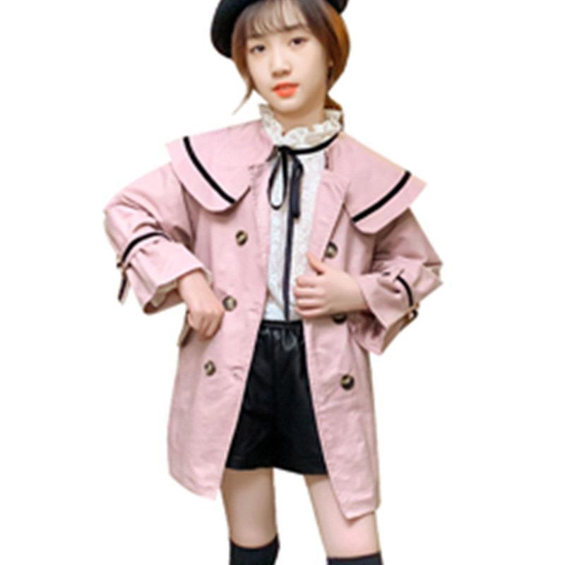Kızlar Rüzgarlık Ceket 2020 Sonbahar Yeni Çocuklar İngiltere Stil Trençkot Casual Dış Giyim 4-13 Yaş Kız Çocuk Çift göğsü
